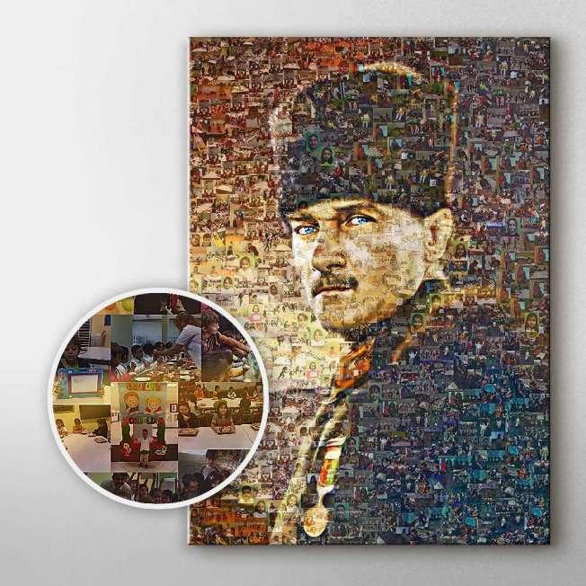 Öğretmenler Günü İçin Öğrenci Fotoğraflarından Atatürk Mozaik Tablo