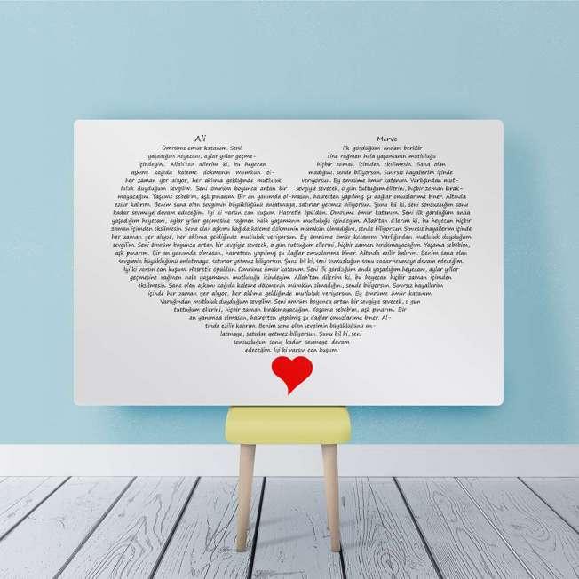 Sevgiliye Sözler Kalp Yazı Tablo